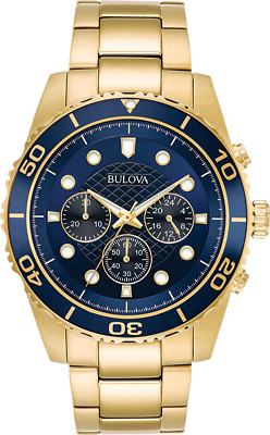 Bulova Men's 98A172 Quartz Marine Star Chronograph Blue Dial Bracelet 43mm Watch