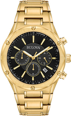 Bulova Men's 97B161 Quartz Chronograph Black Dial Gold-Tone Bracelet 43mm Watch
