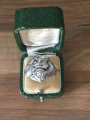 Gorgeous Hallmarked Sterling Silver Size V Dragon Band Ring 9gr London 1990
