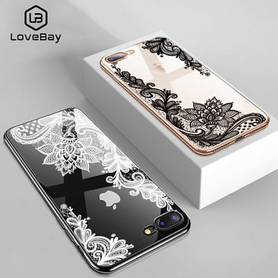 Case For iPhone X 7 8 6 6s Plus Luxury Silicone 3D Lace Flower Soft Back Cover
