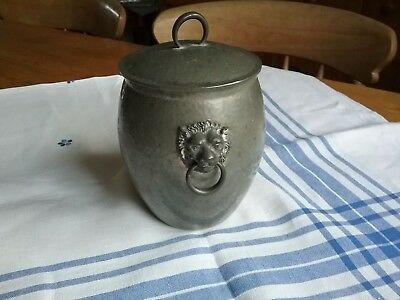 Liberty & Co Tudric arts & crafts pewter biscuit barrel no. 01065. Solkets.
