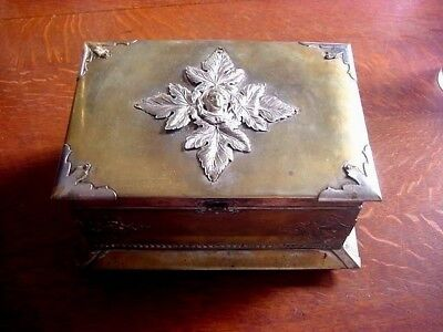Antique Vintage silver plate on Brass Wood Cigar Box Tobacco Humidor RARE Old