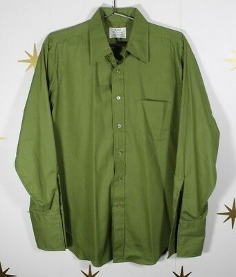Vintage Men's ARROW Kent Sanforized French Cuff Rockabilly Green Shirt Large 16