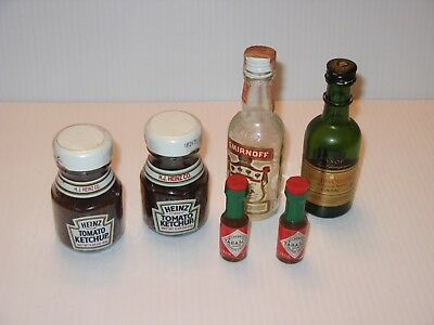 Vtg BOTTLE Heinz Ketchup Smirnoff Vodka Tabasco Courvoisier Champagne Cognac LOT
