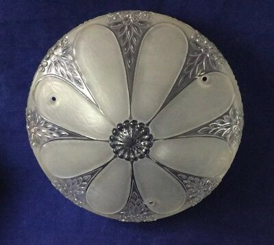 Vintage Glass Ceiling Light Shade Fixture Round 3 Hole Art Deco Frosted 10""
