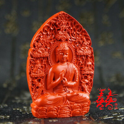 Natural Red Cinnabar Carving Lacquer Chinese Buddha Shakyamuni Pendant Necklace
