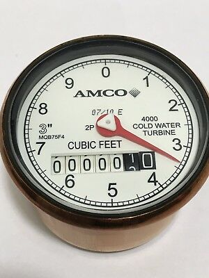 "Elster AMCO 3"" 4000 Turbine Water Meter Register Clock 2P MQB754"