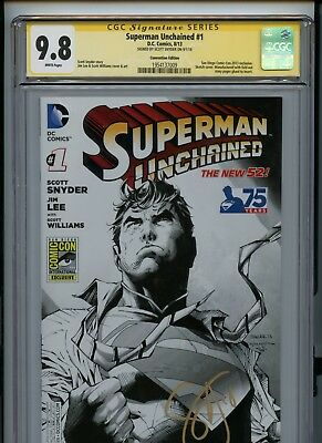 CGC 9.8 Signature Series Superman Unchained #1 SDCC Variant Signed Snyder