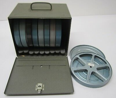 Vintage Brumberger B Metal 16mm Film Case Storage Box & 9 Reel Canisters