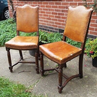 Antique Carved Leather Upholstered Dining Chairs Shabby Chic DELIVERY POSSIBLE