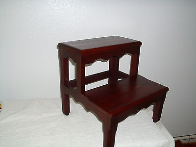 Handcrafted Solid Alder Bed Step Stool Dark Cherry Wooden wood