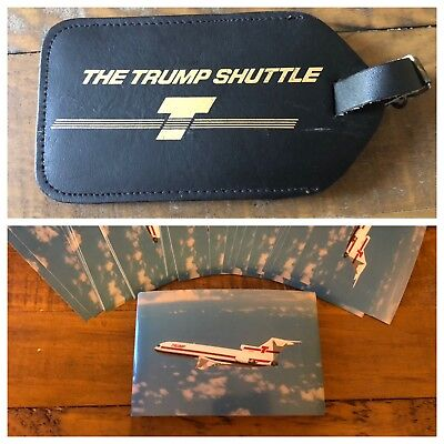 Vintage TRUMP SHUTTLE AIRLINES LEATHER LUGGAGE TAG And 5 Trump Airlines Postcard