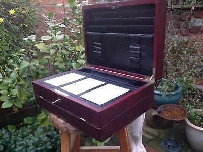 Antique Victorian Leather Writing Slope Box Bramah Lock Oz Blood Red For Tlc
