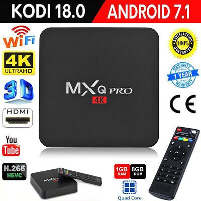 MXQ PRO Android 7.1 S905W Quad Core 64-bit 1+8G Smart TV Box 4Kx2K WiFi HDMI EU