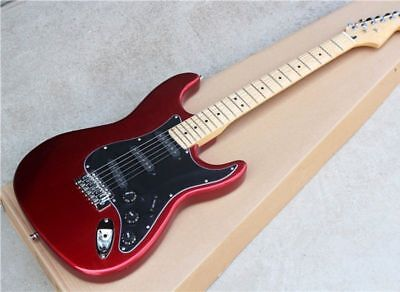 Electric Guitar with SSS Black Pickguard Red Maple Neck Chrome Hardwares