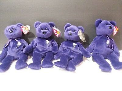 Ty Beanie Babies Lot of 4 Princess Bears with tags no smoking no stains L11