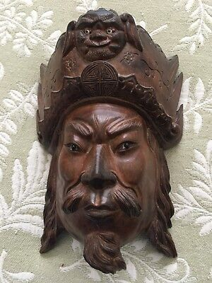 Finely detailed Carved Wooden Warrior Chinese/Tibetan Maskw/realistic eyes