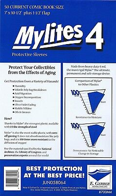50 Mylites4 CURRENT 4 mil HEAVY DUTY Archival Mylar Comic Bags E. Gerber 700M4