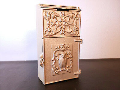 Antique Cast Metal Mailbox Letter Box Slot With Hardware Owl Pattern