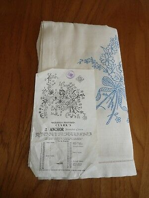 Vintage Anchor Irish Linen printed unused new tablecloth to embroider large