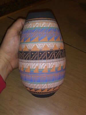 Signed Maggie Begay Dine (Navajo) Intricate Pattern Pottery Vase Native 94