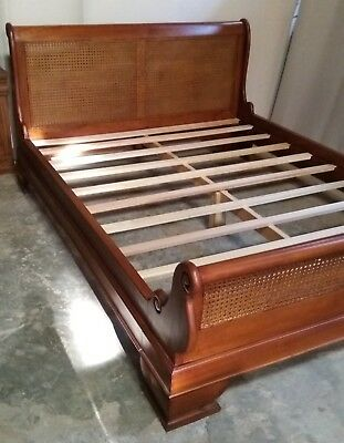 Mahogany Rattan Sleigh Bed 5' King Size Antique French Style Low Foot Board New