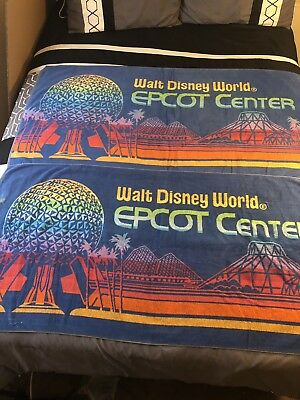 Lot Of (2) Vintage 1982 Walt Disney World EPCOT CENTER Beach Towels!