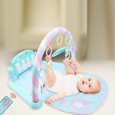 Fitness Baby Gym Play Mat Lay Play Music And Lights Fun Piano Remote Controller