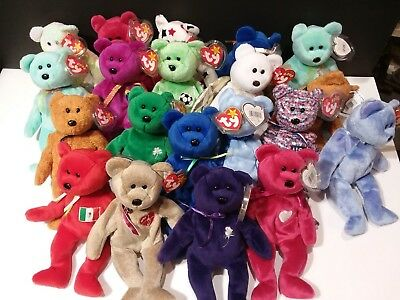 Ty Beanie Babies Lot of 20 Bears with tags no smoking no stains L12