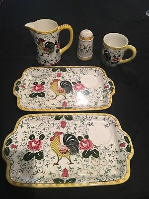 Vintage Early provincial hand painted Japan Rooster and rose plates pitcher salt