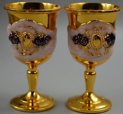 Collectable Chinese Cloisonne Carve Flower Royal Noble Wine Cup Table Pair Cup