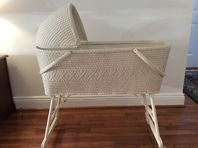 Vintage Wicker Bassinet With Mattress And Hood Cover