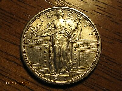 1917-P 25C Type 1 Standing Liberty Quarter Uncirculated Gem BU+ Full Head Rare!