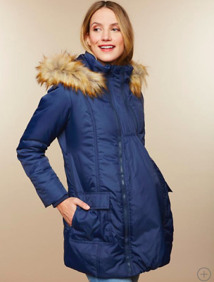 Modern Eternity Navy Blue Maternity Winter Coat w/expansion panel Size Small