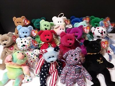 Ty Beanie Babies Lot of 20 Bears with tags no smoking no stains L13