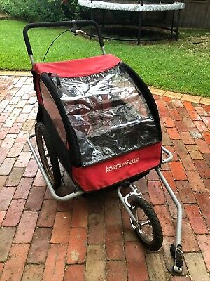 Bicycle Trailer Child Kids Towable Bike Stroller Pram Red
