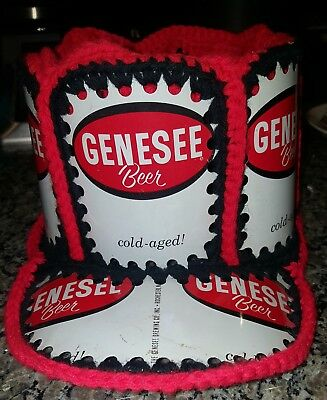 Vintage Genesse Beer Can Recycled Aluminum Can Crochet Knit Baseball Cap Hat