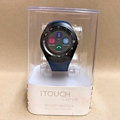 iTouch Curve Sports Band Bluetooth Smart Watch Android & iOS Compatible BLUE NEW