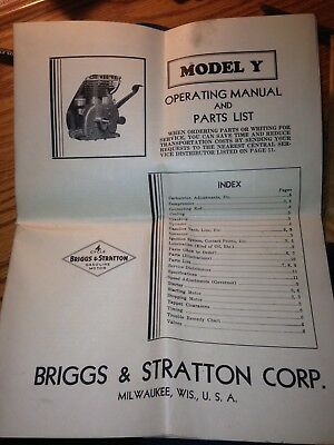 Briggs And Stratton Model Y Operating Manual Gas Motor Kick Start Washing Machin