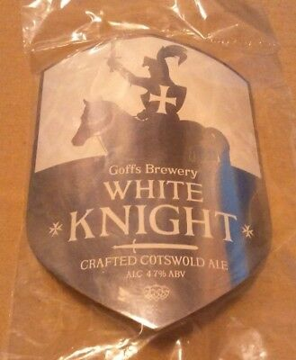 Beer pump clip badge front GOFFS brewery WHITE KNIGHT cask ale NEW UNUSED SEALED