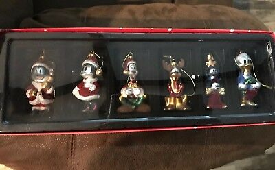 Vtg. Disney Store Blown Glass Christmas Ornament Set Of 6 Santa Mickey  & Minnie