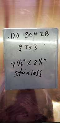 ".120"" (11Gauge)  304 2B Stainless Steel Sheet 7 1/2"" X 8 1/2""   Lot Of 3"