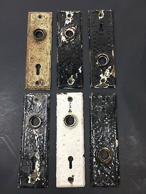 Lot of  (6) Vintage Matching Door Plates Interior Hardware Antique Brass
