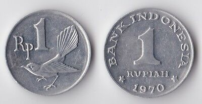 1970 Indonesia 1 rupiah coin with bird