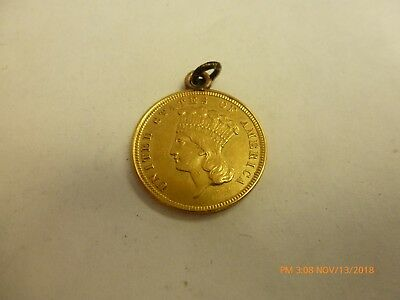 1854 Three Dollar Gold Piece, $3  Indian Princess Made Into A Pendant Scarce