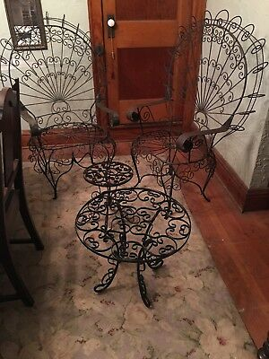 Ornate Fancy Twisted Wire Peacock Fan Back Chairs & Tables Vintage Black Patio