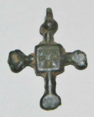 Fine Medieval Bronze Bud Cross St. Andrew Pendant c.1000 Norman Viking Amulet