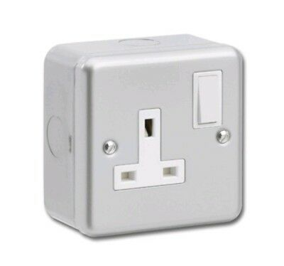 Manningham Electrical 1 Gang White 13A Switched Double Pole Plug Wall Socket