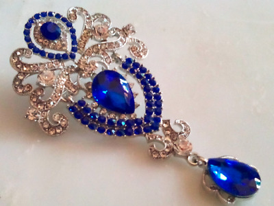 HOLLYWOOD REGENCY BROOCH!Trembler Pin!Sapphire Blue & Clear Crystals.Silver Tone