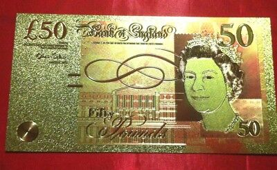 £50 Uk England Gold Banknote 24K Coloured Gold Limited Note